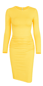 Long Sleeve Ruched Neck Ruched Bodycon Dress