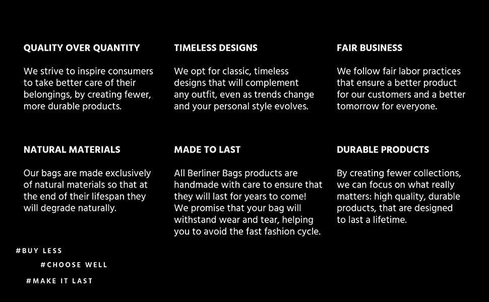Berliner Bags Six Points about our slow fashion philosophy and commitment to fair business