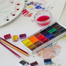 Artist Paints Half Pan Kits for DIY Watercolor Oils or Acrylics Painting Art Drawing