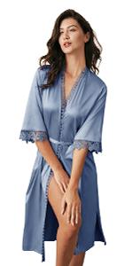 B08X75Y25G-Long Satin Lace Trim Kimono Robes