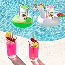 Refreshing drinks made with Ultima Replenisher by the pool
