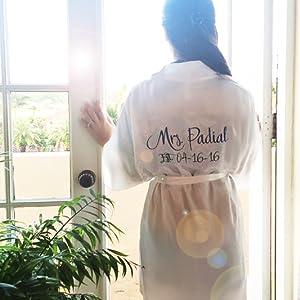 Personalized Mrs. Robe, Custom Wedding Day Robe, Mrs. Robe, White Satin Robe