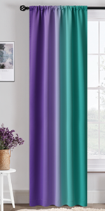 Rod Pocket Purple and Teal Ombre Room Darkening Curtains