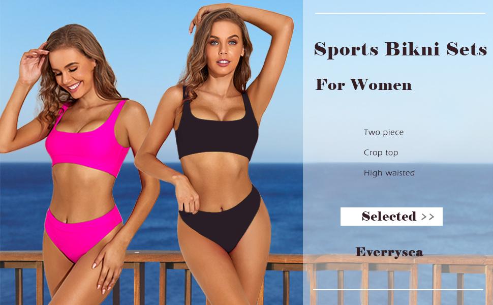women Women High Waisted Bikini Two Piece High Cut Bathing Suit Sport Push Up Crop Top Swimsuit