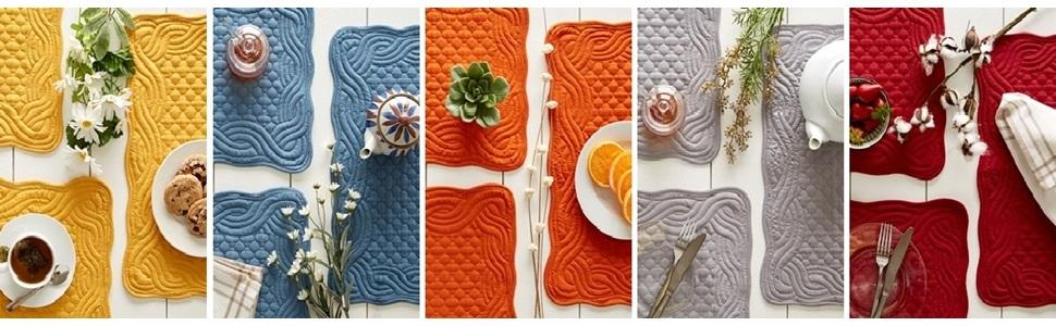 DII Quilted Farmhouse Collection - Placemat settings showing all 5 color options amp; how to style.