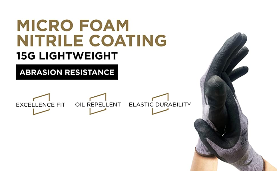 micro foam nitrile coating work gloves
