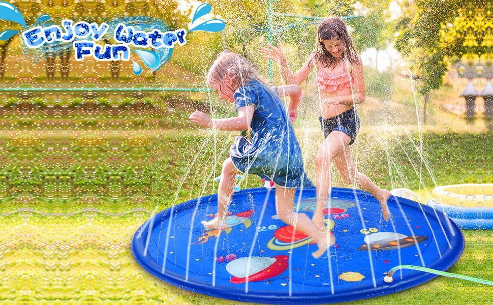 Kids have fun in the splash pad