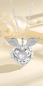 angel wings heart urn necklace for women girls