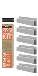 Pro Office White J Channel Cable Raceway Kit Set of 6