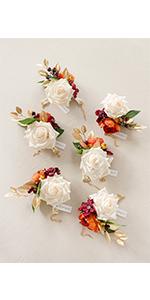 Terracotta Wedding Corsage Bracelet (Set of 6)