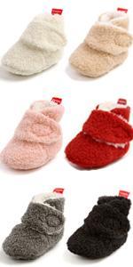 Baby Fleece Booties Newborn Unisex Booties Non-Slip Newborn Toddler First Walkers shoes