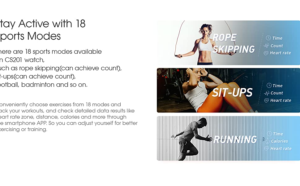 18 Sports Modes, running, skipping rope, basketballtrack your steps, calories, distance and duration