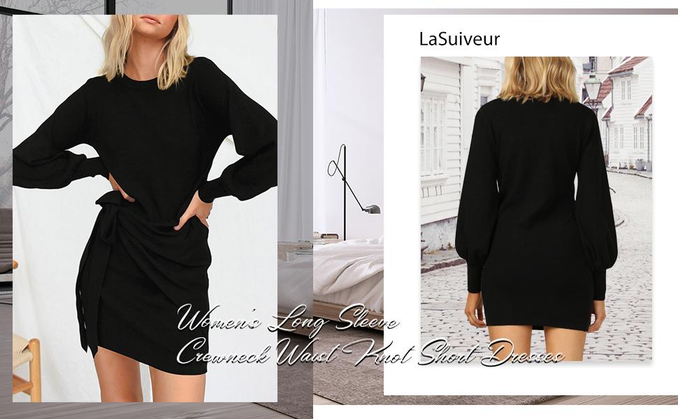 LaSuiveur Women's Casual Loose Long Sleeve Tie Waist Pencil Sweater Dress