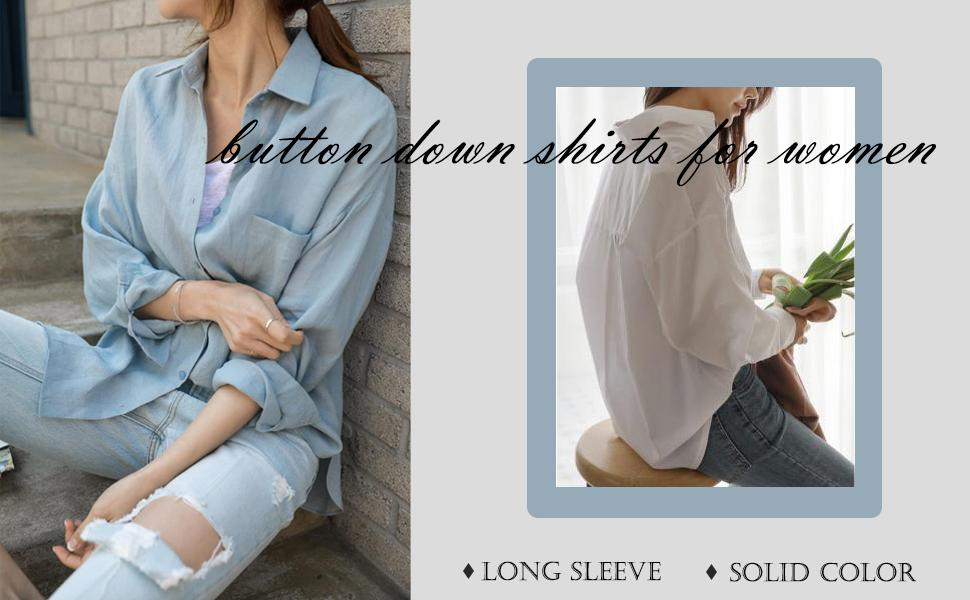 Womens Long Sleeve V Neck Blouse Roll-up Sleeve Button Down Shirts Tops
