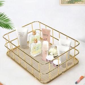 desk drawer organizer rose gold wire basket metal mesh holder for storage cosmetic stationery