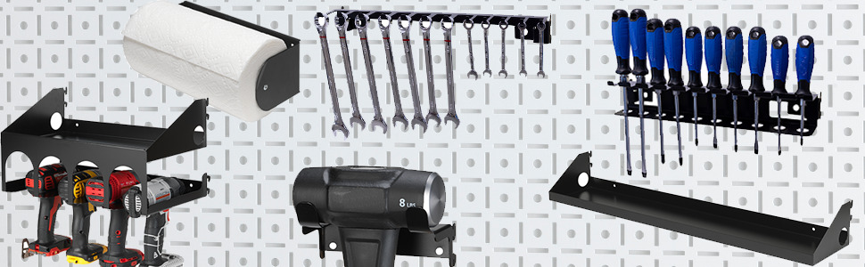 OmniWall Metal Pegboard Accessories for cordless drill holders and hand tool storage organizer