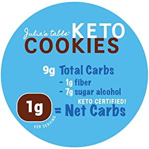 Julia's Table Certified Keto Chocolate Chip Cookies Label