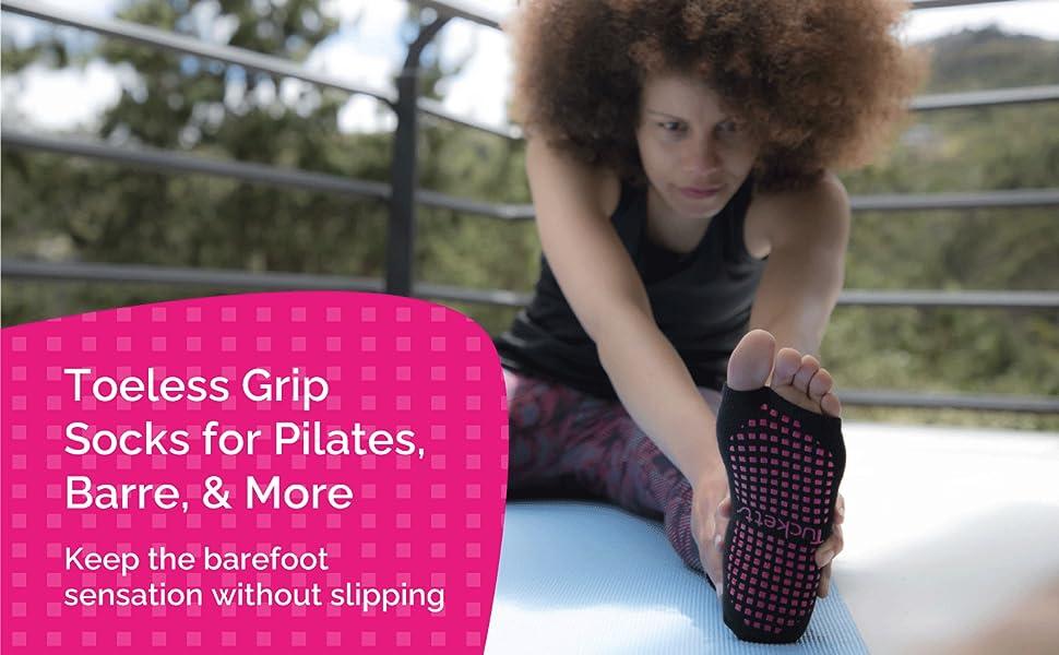 Ballerina Toeless grip socks for pilates, barre and more, barefoot sensation, non slip