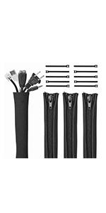 """(4 Pcs) 19-20"""" Cable Management Sleeve with Zipper & 10 Fastening Cable Ties"""