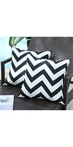outdoor waterproof black and white pillow covers