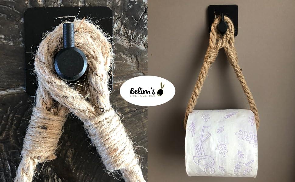 porte papier toilette adhésif en corde de jute support papier wc derouleur pq autoadhesif mural pq