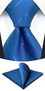Set di cravatte per uomo tinta unita blu reale