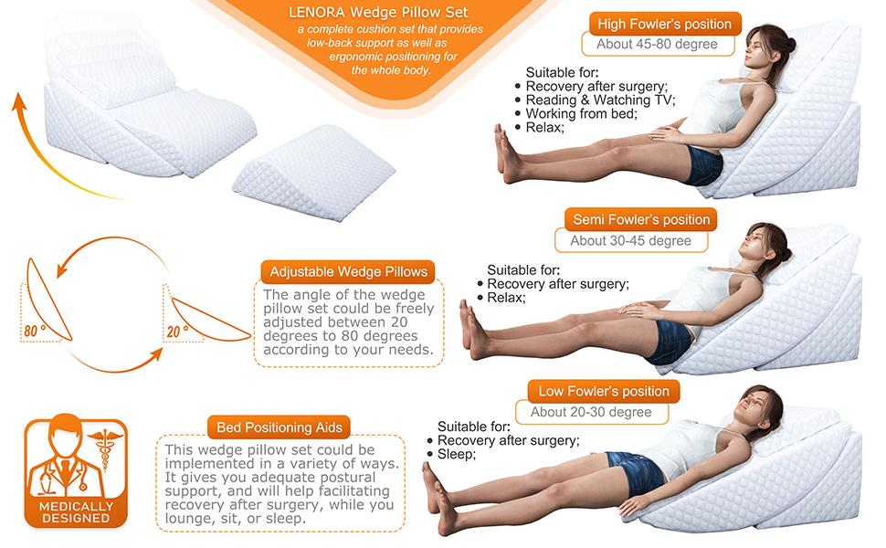 wedge pillow set angle adjustable