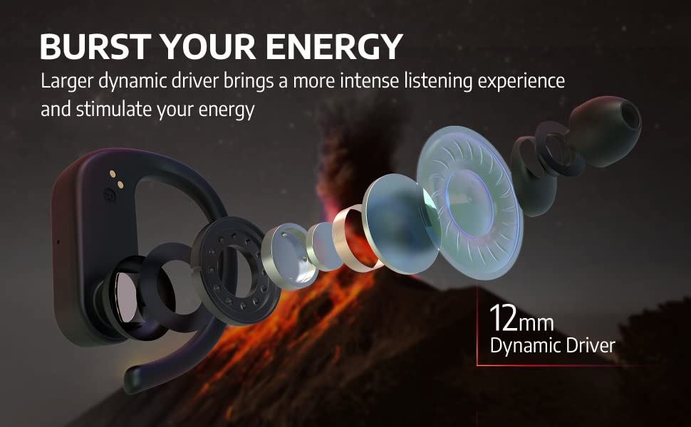 AIHOOR A7 Sports Earbuds with Superb Bass Performance, 12mm Drivers Fine Tuned by 30yrs Experienced