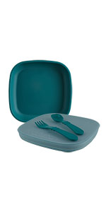 teal flat plate with spoon and fork utensil set with lid