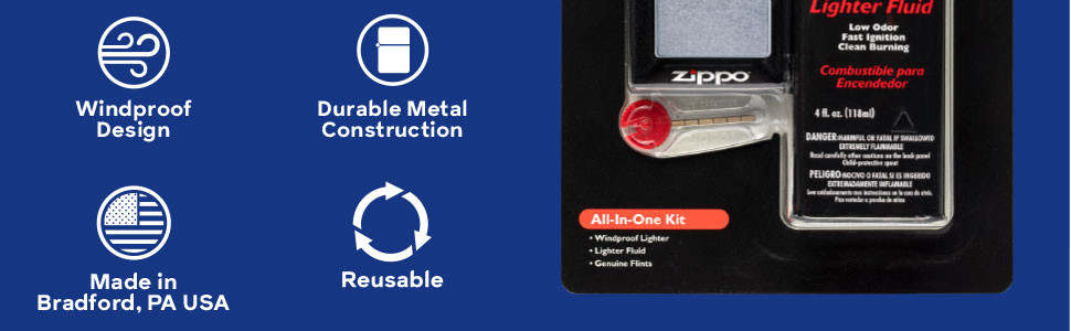 zippo, zippo lighter, all in one kit, all in one, windproof, durable, reusable, metal, made in usa