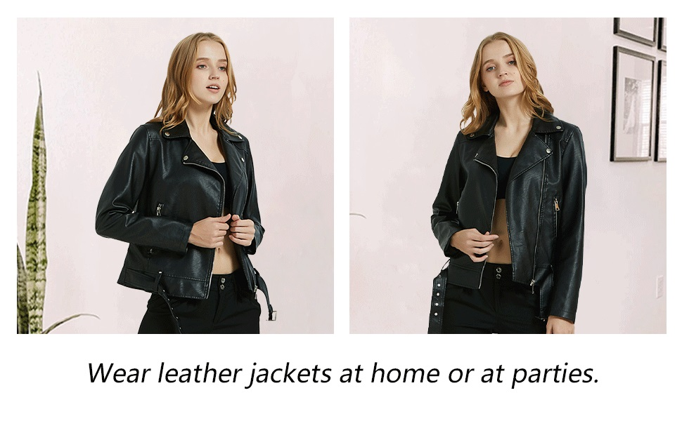 Women's Faux Leather Short Jacket Belted,Moto Casual Coat 7906