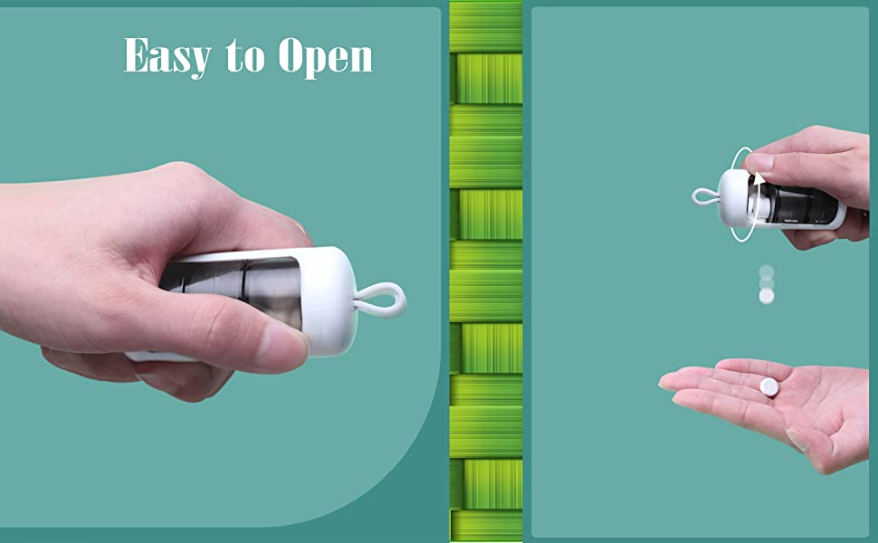 Easy to open and use mini small pill holder