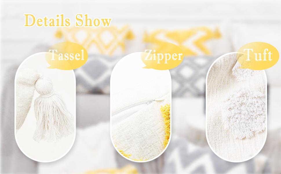 Handmade Tassel amp; Hidden Zipper amp; Premium Tuft