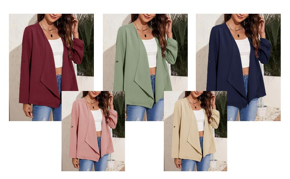 Women's Casual Blazers Open Front Long Sleeve Button Work Office Blazer Jacket