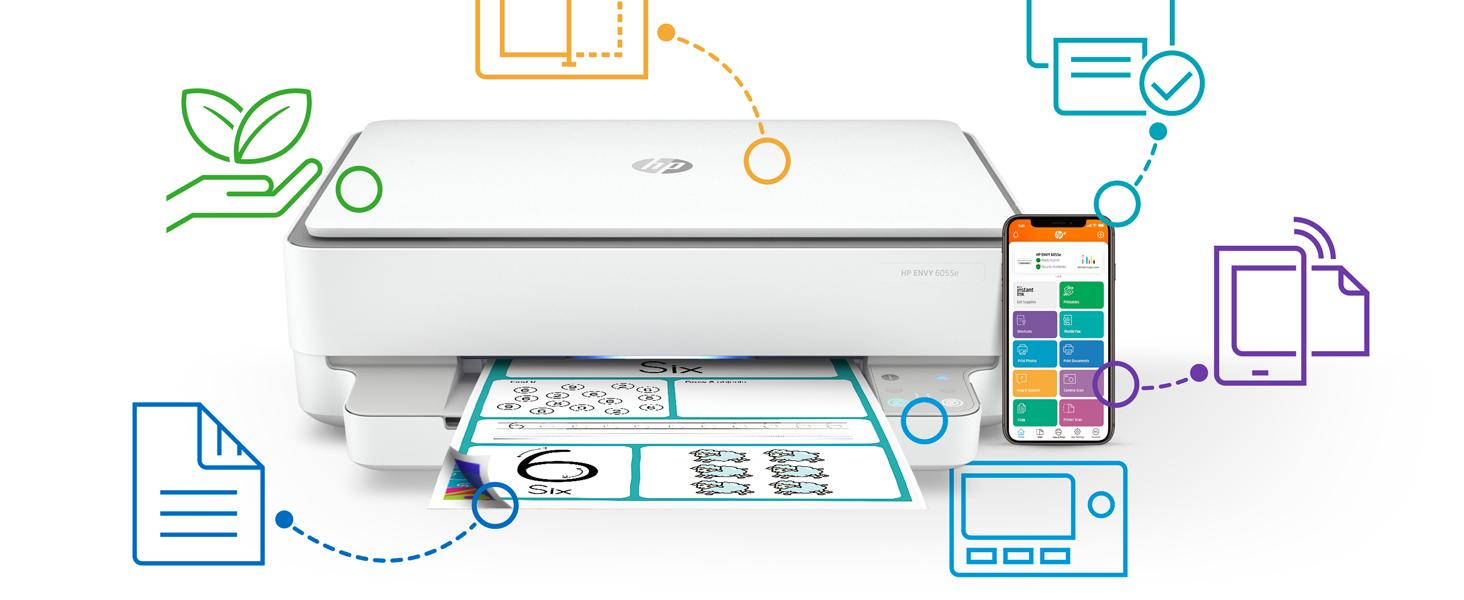 envy 6055e easy printer setup free Instant Ink printing shortcuts sustainability