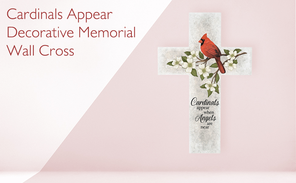 cardinal cross angels are near wall decor hanging decorative home loss grief sympathy gift memorial