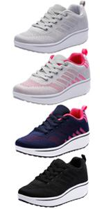 Womens Outdoor Casual Wedge Platform Mesh Lace-Up Sport Athletic Rocker Shoes Trainers Sneakers …