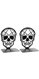 Metal Skull Design Black Bookend