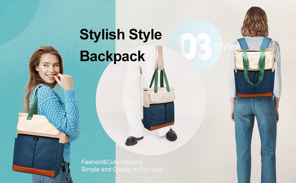 Women Convertible Tote Daypack Laptop Backpack Wide Top Open College School Travel Casual Bag