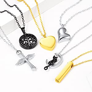 Engraved urn necklaces for ashes