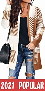 Plaid Knit Cardigan