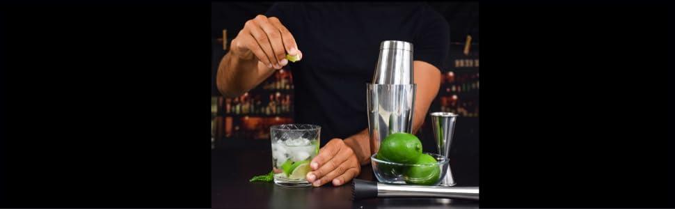cocktail boston shaker set jigger muddler hawthorne strainer bartender drink