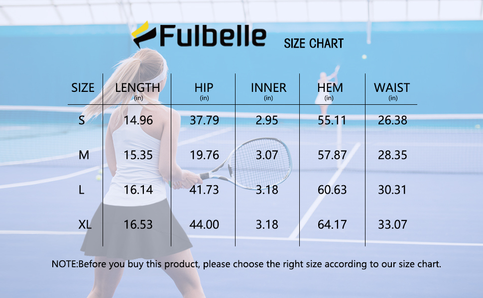 Fulbelle size chart
