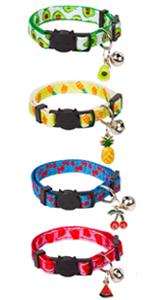 4 Pack Summer Fruit Cat Collars