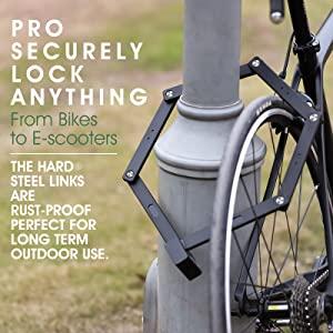 Folding Bike Chain Lock Heavy Duty Bike Lock with Bracket Anti-Theft Security Lock for Bikes