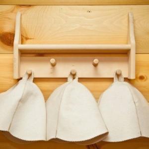 Sauna hats on a hanger
