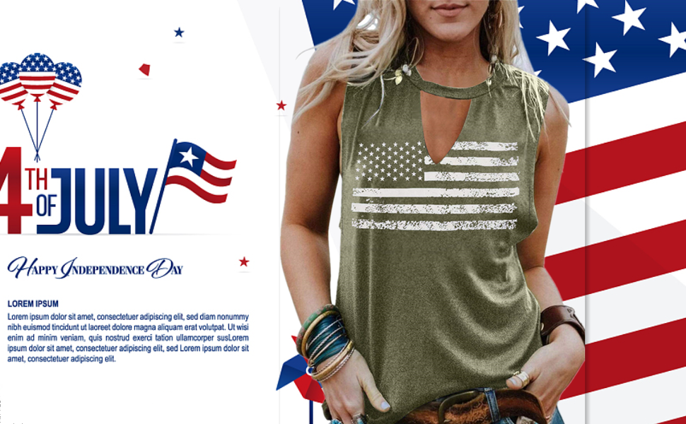 FASHGL Women's 4Th of July Tank Tops Stars Striped Flag Tanks Independence Day Top Shirt