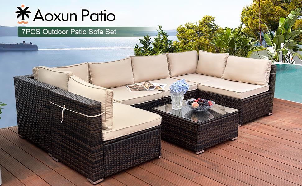 Aoxun Patio Furniture-7 Piece Modular Outdoor Sectional Sofa