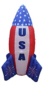6 Foot Patriotic Independence Day 4th of July Inflatable USA Flag Rocket Ship