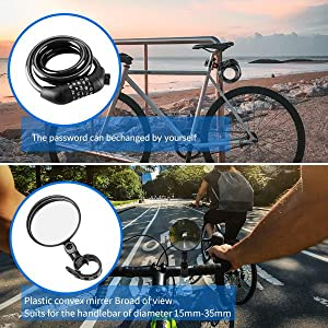 Bicycle lock and mirror